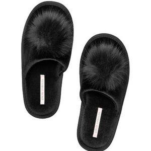 Victoria's Secret Pom-pom Slipper in Black